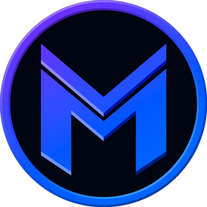 Stylized blue M in a circle